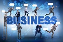在企业概念的商人与梯子和泡影呼出 库存照片