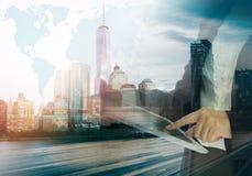 在企业电子表格世界范围内 免版税库存照片