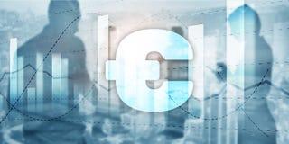 在企业背景的欧元标志 混合画法财政横幅 库存照片