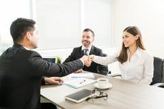在企业项目的协议的握手 免版税库存照片