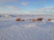 在伊利湖岸的雪和冰沙丘日落的, Presque小岛国家公园 库存图片