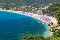 在伊庇鲁斯同盟地区附近Parga镇的美丽的Valtos海滩在希腊 库存照片