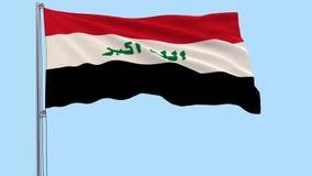 在伊拉克的颜色的被隔绝的大布料振翼在透明背景的风的旗杆的, 3d翻译, PNG为 库存例证