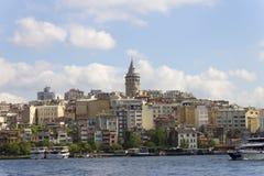 在伊斯坦布尔的欧洲部分的中心的美丽的景色 图库摄影