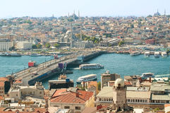 在伊斯坦布尔的看法从Galata塔 免版税库存照片