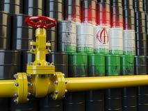 在伊朗旗子前面的油管线阀门在油barr 免版税库存图片