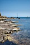 在伊维萨岛使老地中海渔村环境美化的图象 免版税库存照片
