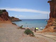 在伊维萨岛海岛上的海滩  图库摄影