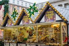 在伍伯托男服务员的圣诞节市场,德国 2017年12月 免版税库存照片