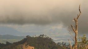 在伍迪小山上的厚实的黑多雨云彩在热带 影视素材