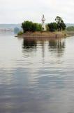在伏尔加河的一座灯塔 库存照片