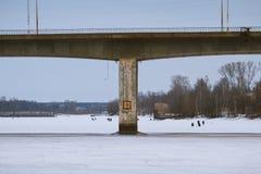 在伏尔加河的桥梁 库存图片