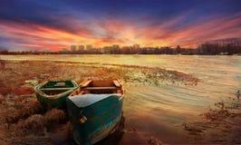 在伏尔加河的黎明 免版税图库摄影