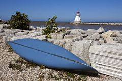 在休伦湖畔的灯塔 免版税库存照片
