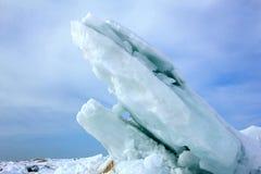 在休伦湖的冰平板 图库摄影