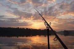 在休息的钓鱼竿 库存图片