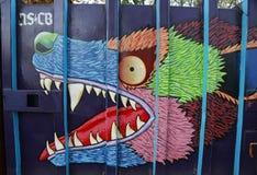 在休斯敦大道的墙壁上的艺术在伦敦苏豪区 库存图片
