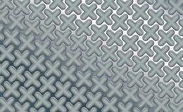 在优美的板料镀铬物,背景的被环绕的三维对象加号 高科技金属处理 摘要 皇族释放例证