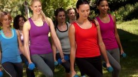 在优质格式健身小组举的手重量在公园 股票视频