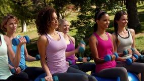 在优质格式健身小组举的手重量在公园 股票录像