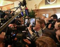 在会议以后的Petro波罗申科关于ASEM山顶 免版税库存照片