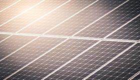 在会集从太阳的农场的太阳电池板电 图库摄影
