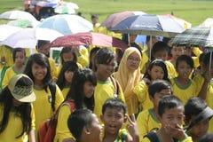 在伞行动纪念的老师的天 图库摄影
