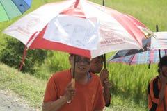 在伞行动纪念的老师的天 免版税库存照片