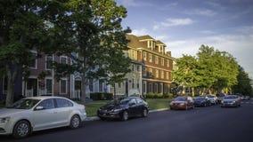 在伟大的乔治旅馆的日落在夏洛特敦,加拿大 免版税库存照片