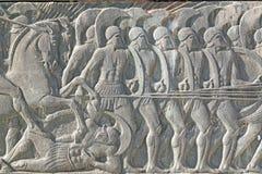 在伟大的亚历山大纪念碑,希腊的希腊古老象匾 免版税库存图片