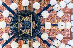 在伟大的犹太教堂的天花板是一个历史大厦在布达佩斯,匈牙利 免版税库存图片