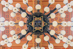 在伟大的犹太教堂的天花板是一个历史大厦在布达佩斯,匈牙利 免版税库存照片