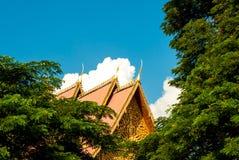 在伟大的Stupa旁边的美丽的屋顶在万象,老挝 库存图片