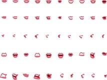 在传染媒介的五十个女性嘴位置-桃红色嘴唇 免版税库存照片
