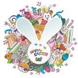 在传染媒介的五颜六色的愉快的复活节贺卡 向量例证