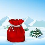 在传染媒介的圣诞节袋子 免版税库存照片