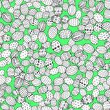 在传染媒介的复活节彩蛋手拉的装饰元素彩图的 无缝五颜六色的装饰的模式 图库摄影