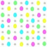 在传染媒介的复活节彩蛋装饰元素彩图的 无缝五颜六色的装饰的模式 免版税库存图片