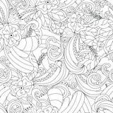 在传染媒介的手拉的乱画样式 Zentangle背景 抽象无缝的纹理 与无刺指甲花装饰品的种族乱画设计 皇族释放例证