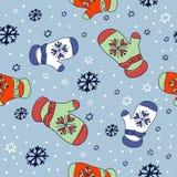 在传染媒介的无缝的冬天手套圣诞节例证背景样式 库存图片