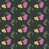 在传染媒介的时髦无缝的花卉样式 库存图片