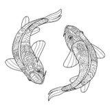 在传染媒介的禅宗艺术风格化鱼夫妇 二个koi鲤鱼 免版税库存图片