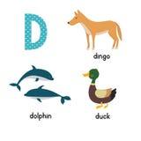 在传染媒介的逗人喜爱的动物园字母表 D信件 滑稽的动画片动物:海豚,鸭子,流浪者 图库摄影