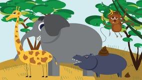 在传染媒介的逗人喜爱的非洲动物动画片 免版税库存照片