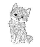 在传染媒介装饰的坐的小猫 图库摄影