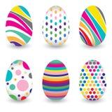 在传染媒介设计隔绝的鸡蛋的复活节天 鸡蛋的五颜六色的图表样式 在白色背景隔绝的五颜六色的鸡蛋 免版税图库摄影