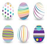 在传染媒介设计隔绝的鸡蛋的复活节天 鸡蛋的五颜六色的雪佛样式 在白色背景隔绝的五颜六色的鸡蛋 图库摄影