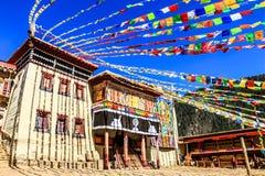 在传统仪式期间的西藏寺庙 免版税库存照片