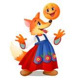 在传统俄国礼服的Fox和微笑在白色背景隔绝的小圆面包 俄国童话字符  库存照片