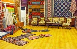 在传统地毯商店,安塔利亚 免版税库存图片